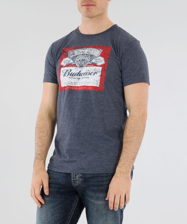 budweiser graphic tee, NAVY HEATHER, hi-res