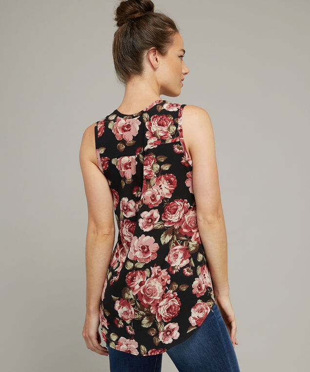 pleated front sleeveless top, ROSE FLORAL, hi-res
