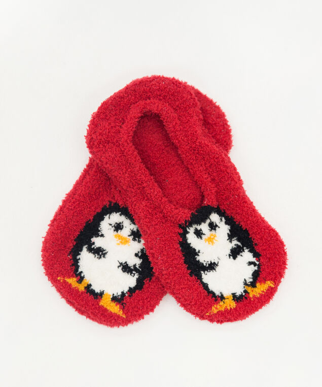 holiday slipper socks, PENGUIN, hi-res