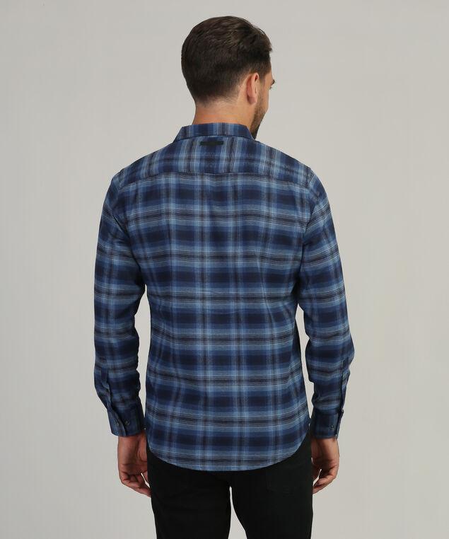 plaid shirt with flap pockets, BLUE PLAID, hi-res