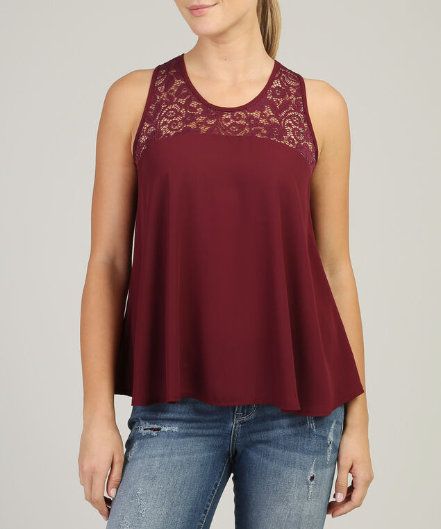 lace zip bank tank - wb, BURGUNDY, hi-res