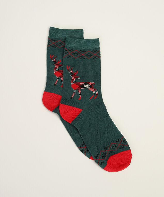 plaid reindeer sock, GREEN/RED, hi-res