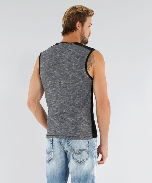 graphic henley tank, CHARCOAL, hi-res