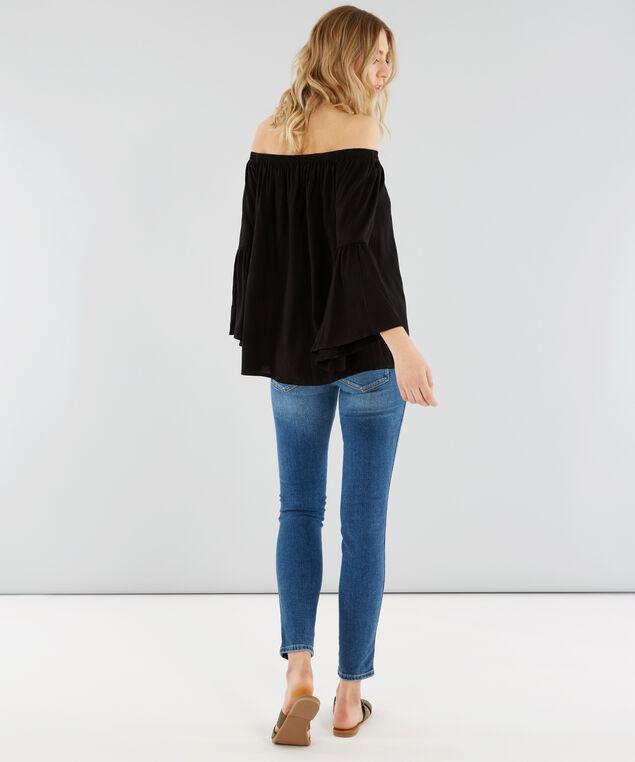 off shoulder bell sleeve top - wb, BLACK, hi-res