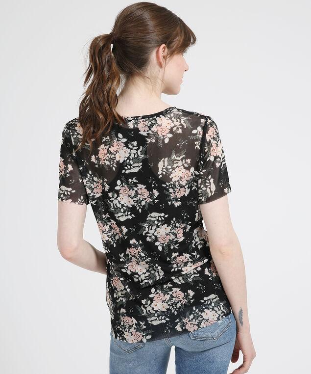 mesh floral v-neck tee - wb, PINK FLORAL, hi-res