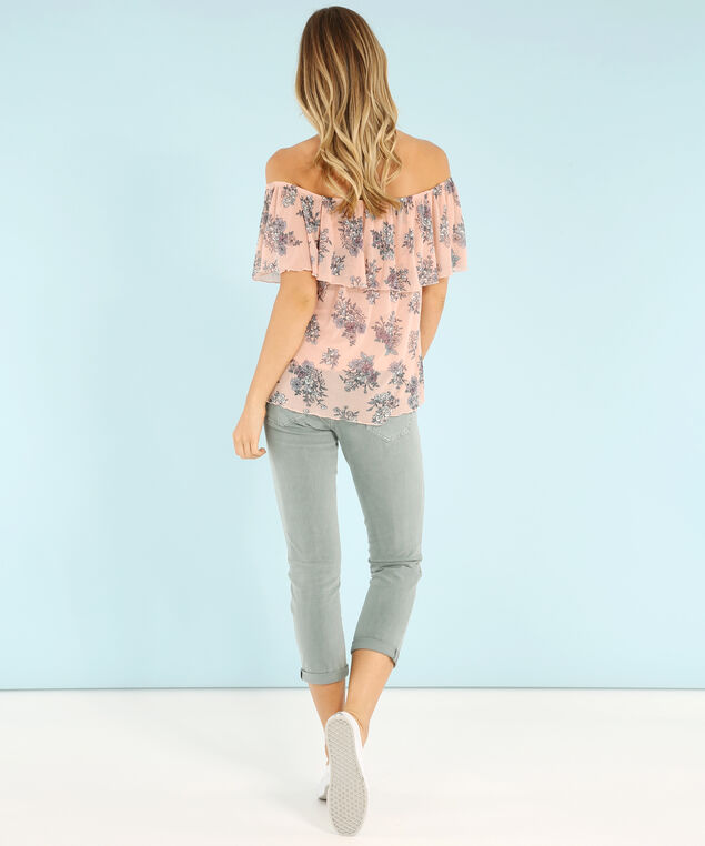 off shoulder mesh top - wb, POPPY FLORAL, hi-res