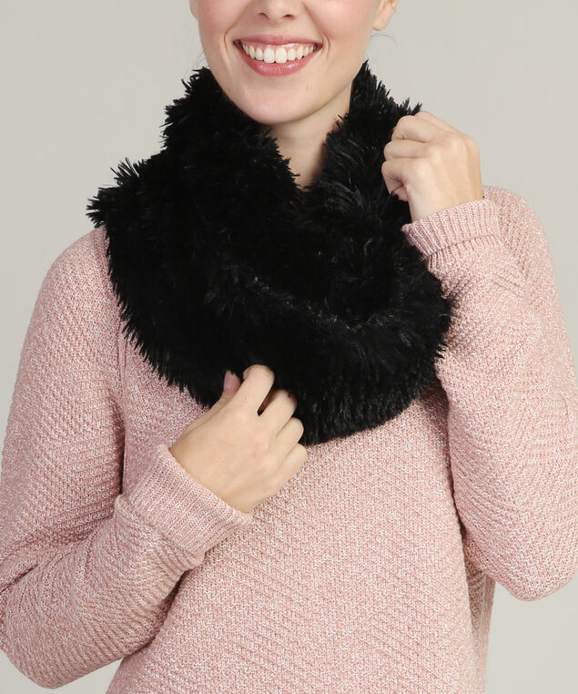faux fur scarf, BLACK, hi-res