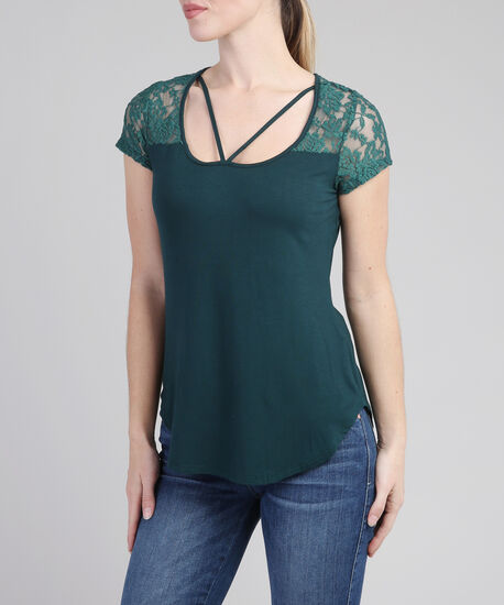 tee with lace yoke and front straps, HUNTER GREEN, hi-res