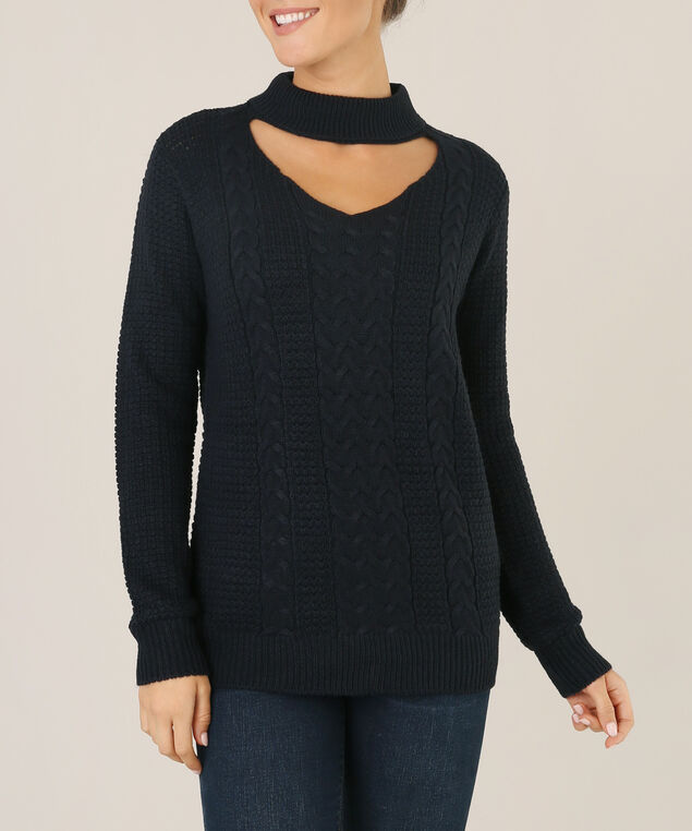 sweater with choker neck - wb, DARK STORM, hi-res