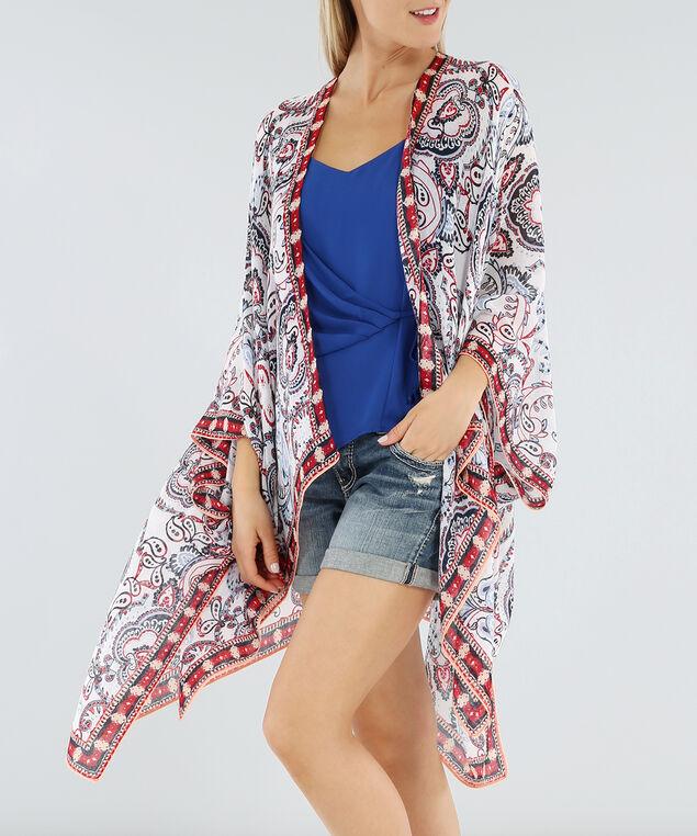 paisley blue and red folk print kimono, WHITE PATTERN, hi-res