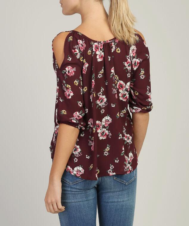 keyhole blouse - wb, WINE FLORAL, hi-res