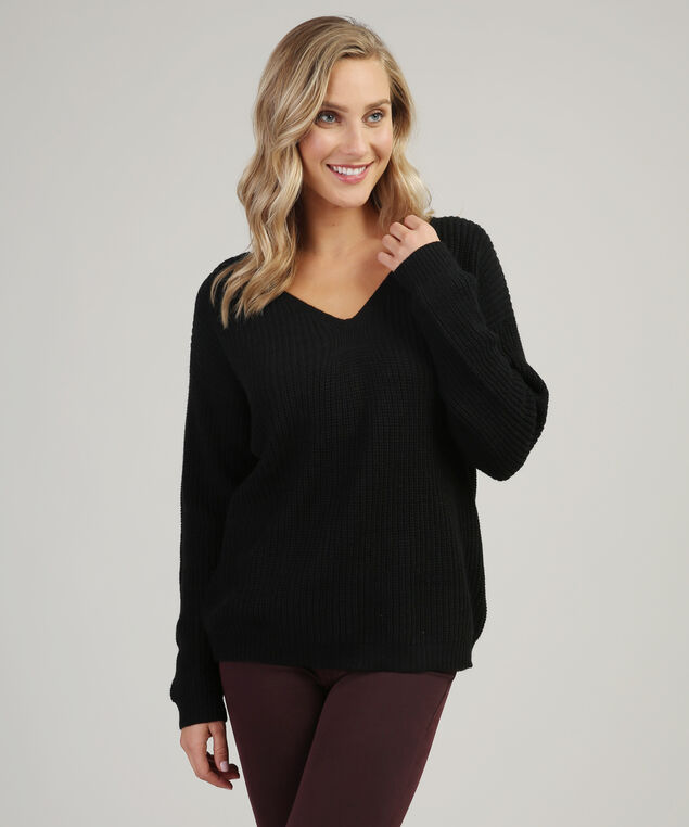 lace up back sweater - wb, BLACK, hi-res