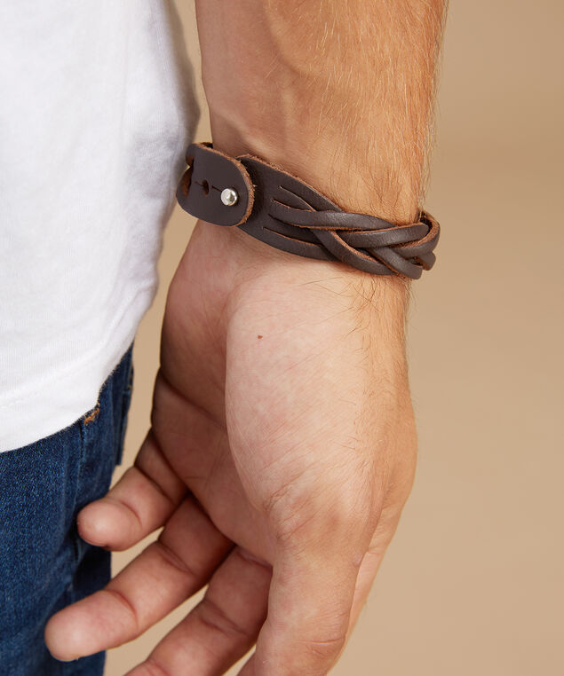 braided cuff, BROWN, hi-res