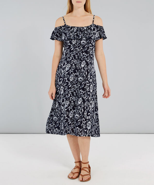 off the shoulder a-line dress, MIDNIGHT, hi-res