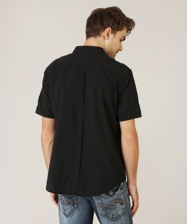 2 pocket woven shirt, BLACK, hi-res