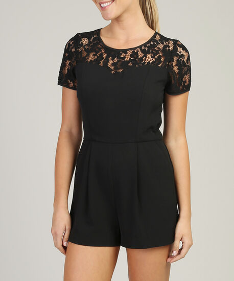 black lace romper - wb, BLACK, hi-res