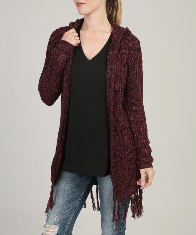 open cardi with hood and fringe - wb, CRANBERRY, hi-res