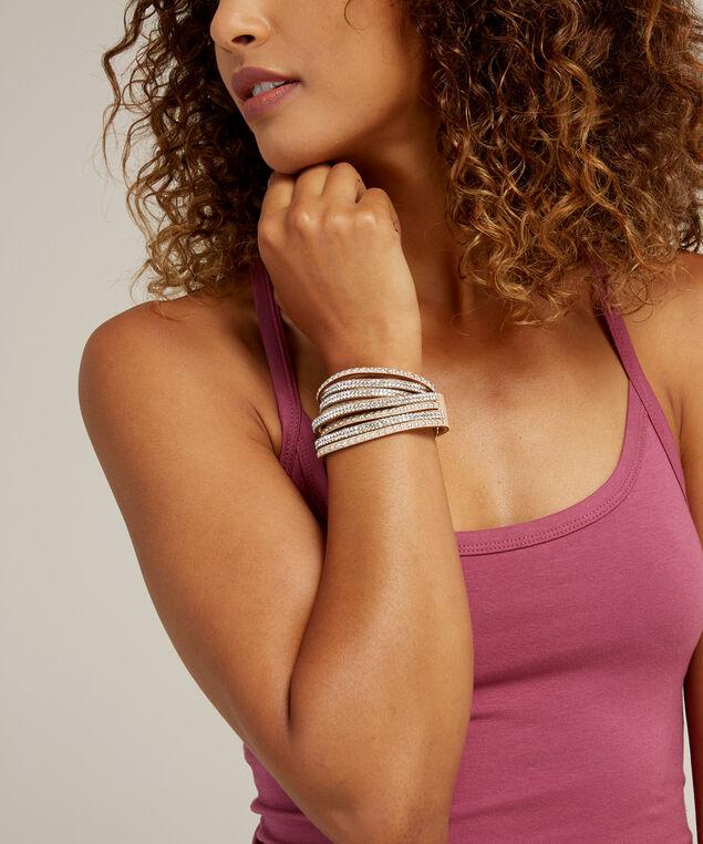 rhinestone & stud wrap bracelet, TAN, hi-res