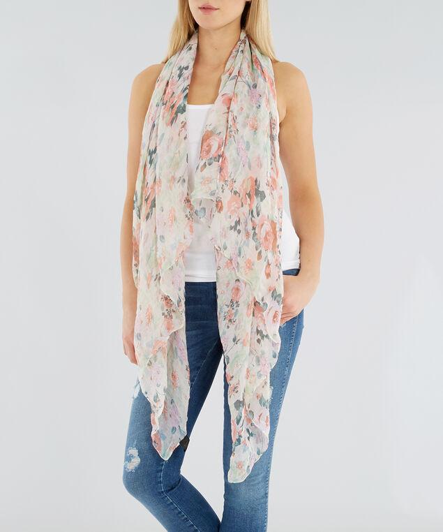 rose print scarf, IVORY FLORAL, hi-res