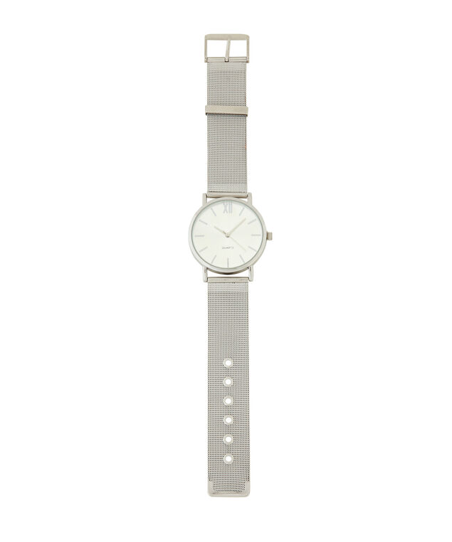 silver mesh band watch, SILVER, hi-res