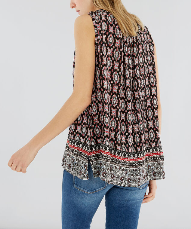 sleeveless top with tassels - wb , RED/BLACK, hi-res