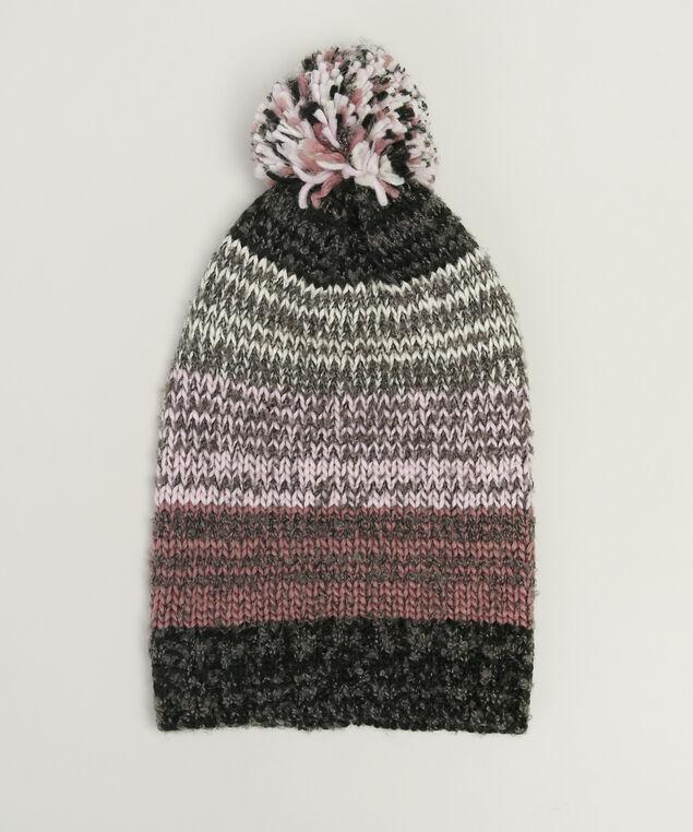 multi colour beanie with pompom, GREY/CREAM/PINK, hi-res
