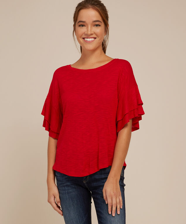 double ruffle sleeve tee - wb, TRUE RED, hi-res