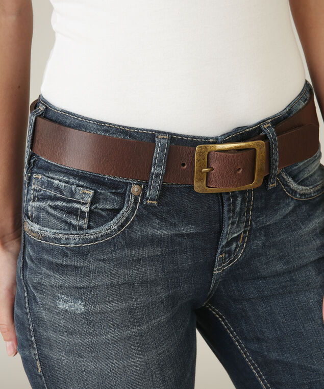leather belt with curved buckle, BROWN, hi-res