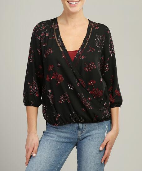 blouse with lace trim, AUTUMN FLORAL, hi-res