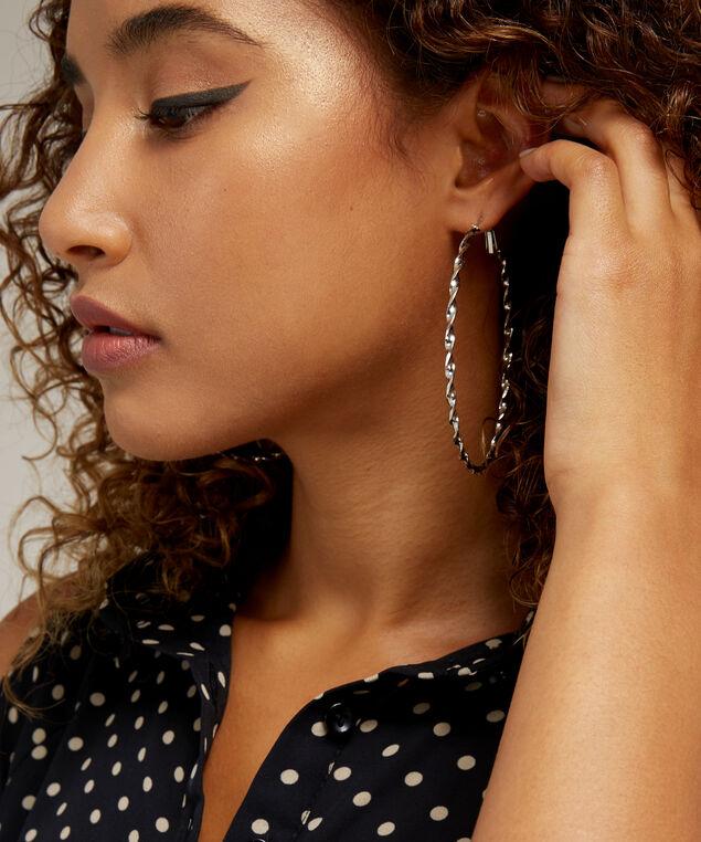 spiral silver hoop earrings, RHODIUM, hi-res