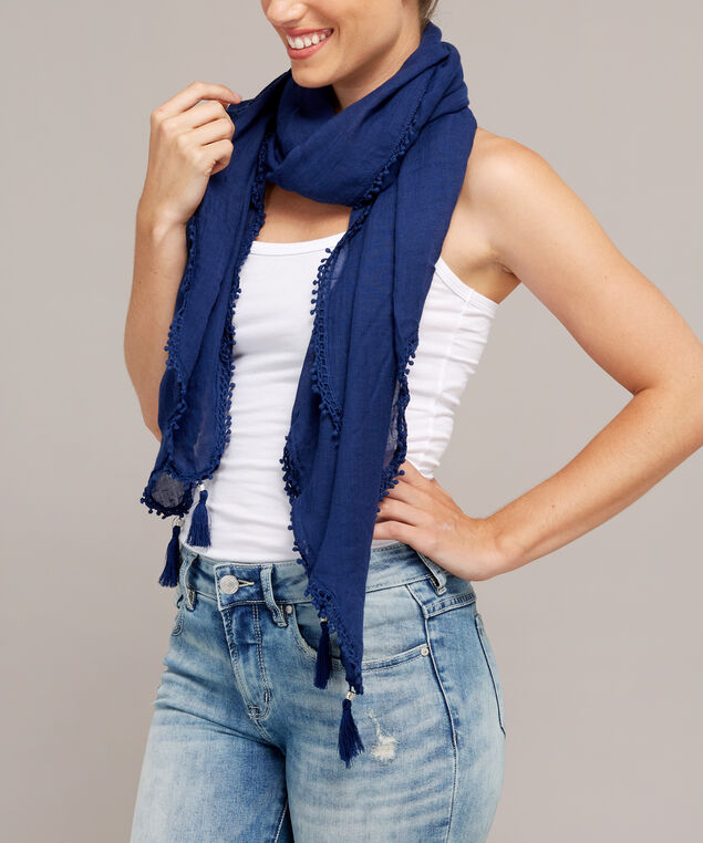 navy crochet and tassel scarf, NAVY, hi-res