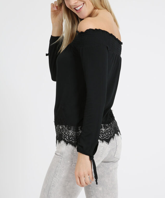 off shoulder long sleeve - wb, BLACK, hi-res
