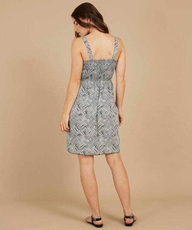 woven dress with smocking at bust, BLACK/WHITE, hi-res