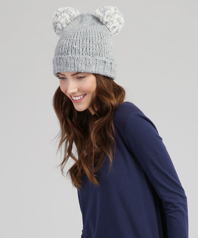 double pom-pom knit beanie, GREY, hi-res