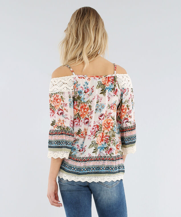 cold shoulder top with crochet trim - wb, IVORY, hi-res
