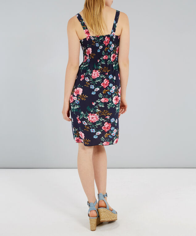 woven dress with smocking at bust, ROSE, hi-res