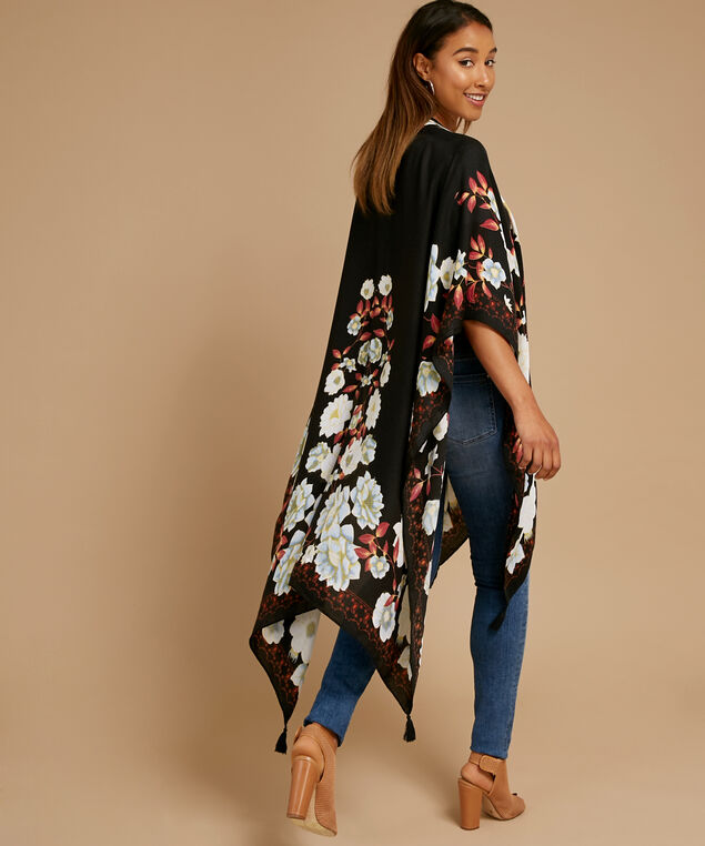 black ground floral kimono, BLACK FLORAL, hi-res