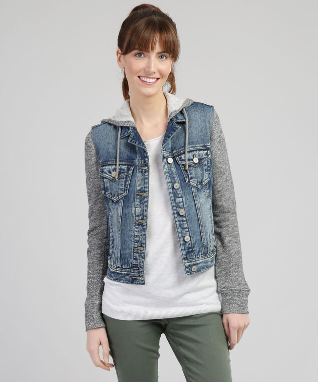 knit denim jacket, LSW, hi-res