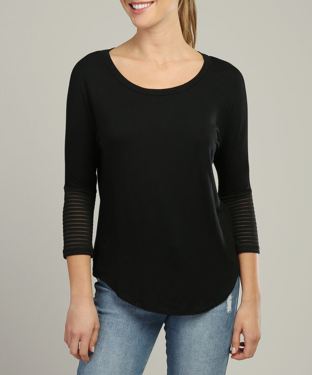 relaxed top with mesh detailed sleeves - wb, BLACK, hi-res
