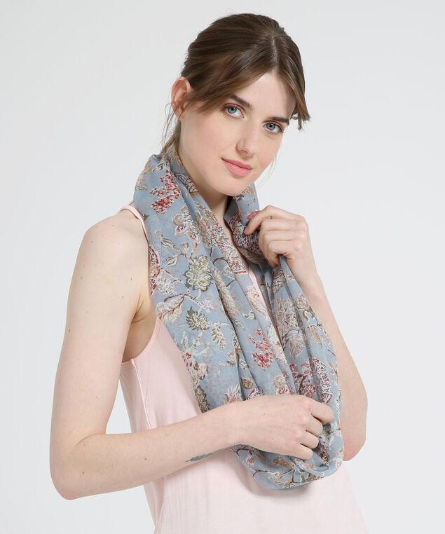 blue floral infinity scarf, BLUE FLORAL, hi-res