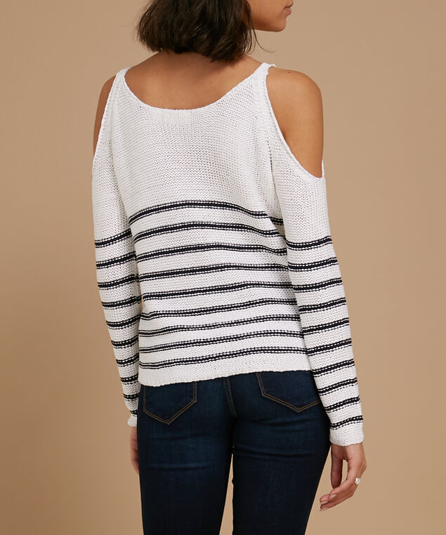 cold shoulder striped sweater - wb, WHITE, hi-res