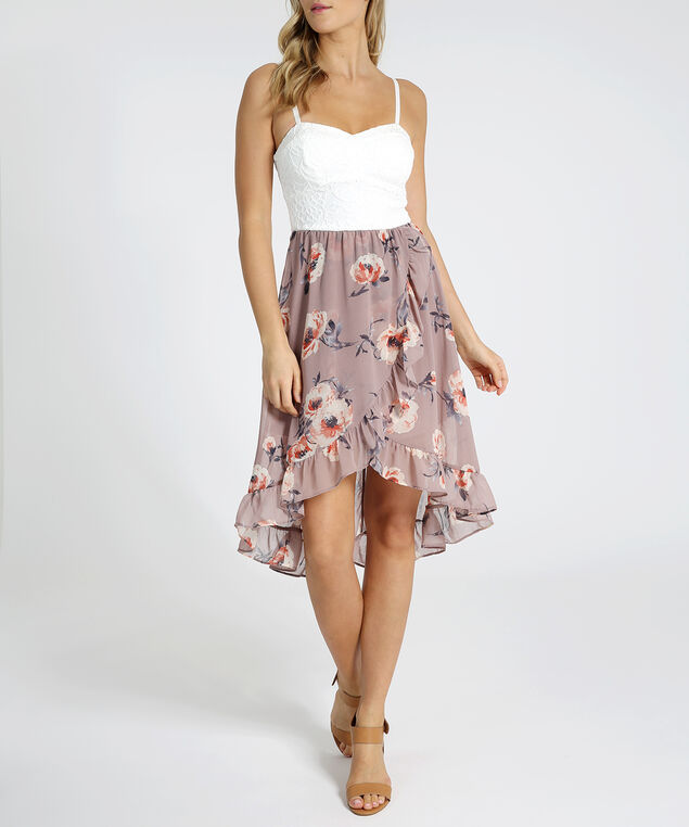 floral skirt dress - wb, MAUVE FLORAL, hi-res