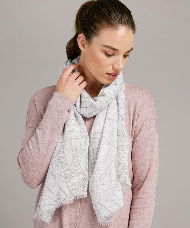 scarf allover leafprint, IVORY GREY, hi-res