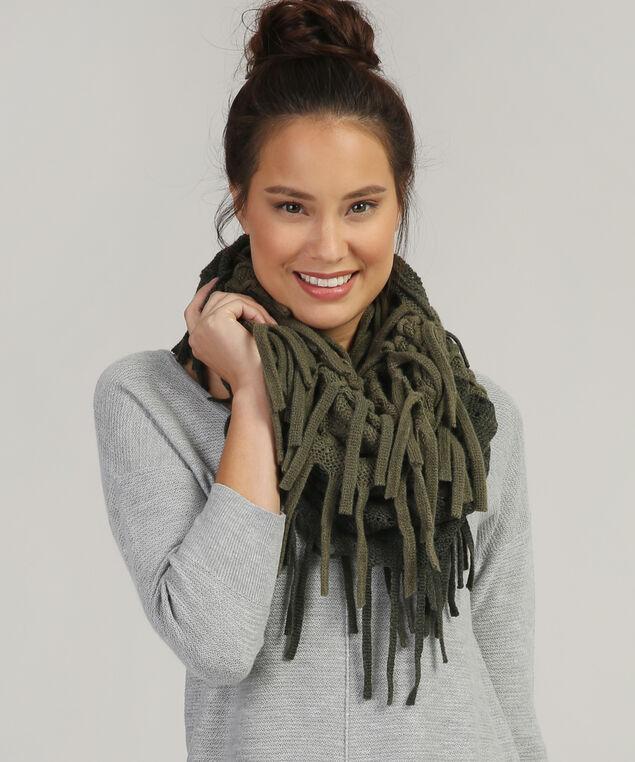 fringe infinity scarf, OLIVE, hi-res