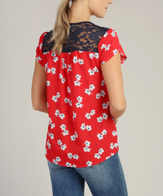 lace yoke tee, RED POPPY, hi-res
