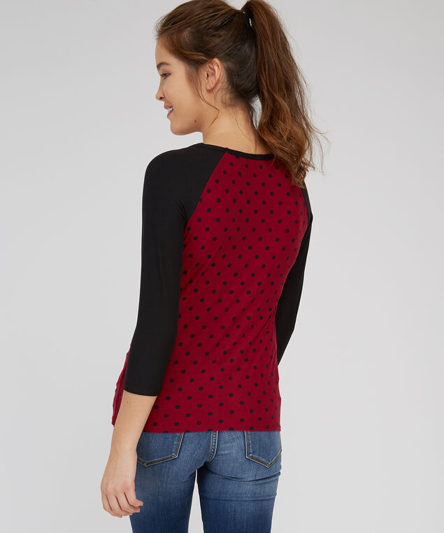 baseball tee with twist front - wb, GLEN FLORAL, hi-res