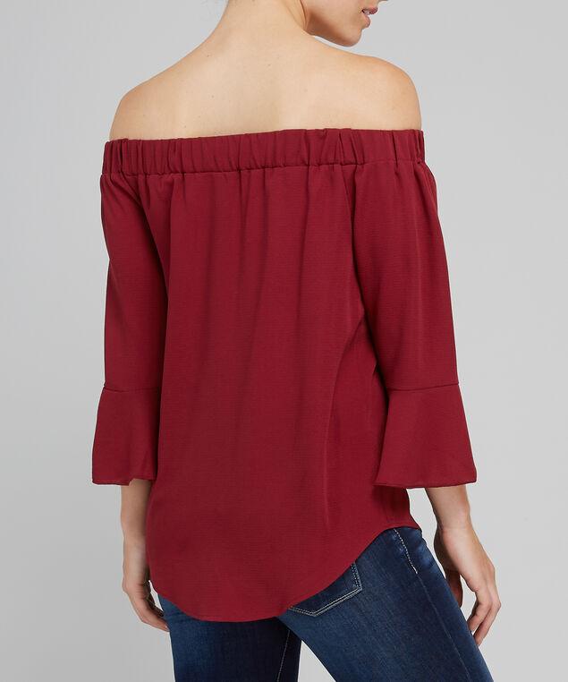 off shoulder bell sleeve top - wb, WINE, hi-res