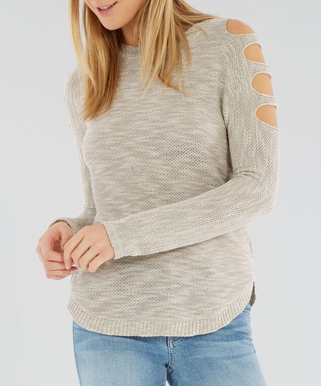 cut-out sleeve detail sweater - wb, OATMEAL TW, hi-res