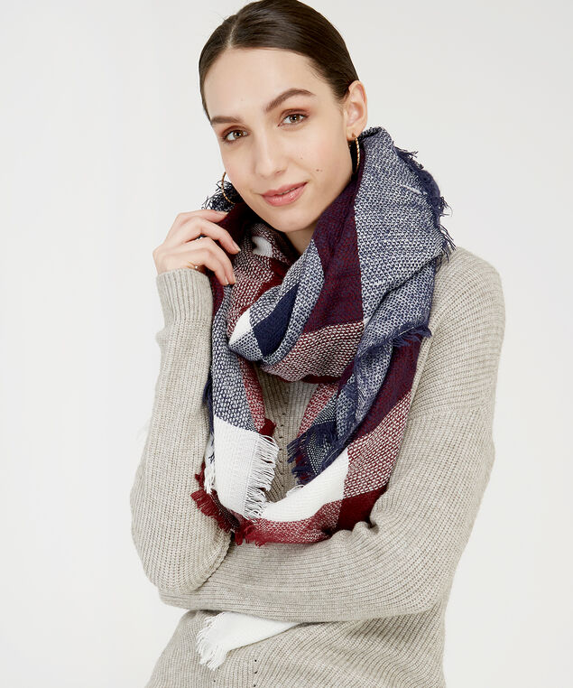 blanket plaid scarf, RED COMBO, hi-res