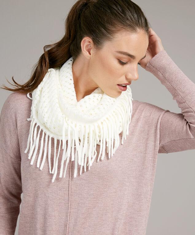 fringe infinity scarf, IVORY, hi-res